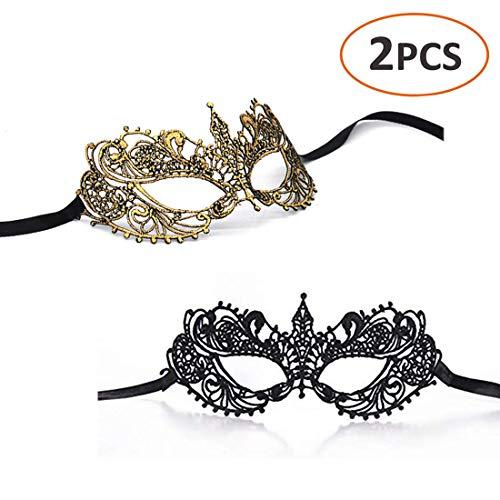 iMapo Women's Lace Masquerade Masks, Sexy Lady Girl Elegant Eye Mask, for Opera Halloween Dancing Evening Party Mardi Gras, Pack of 2 - Black & Gold -