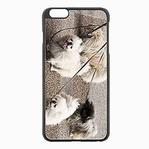 iPhone 6 Plus Black Hardshell Case 5.5inch - dog pekingese walk leads Desin Images Protector Back Cover
