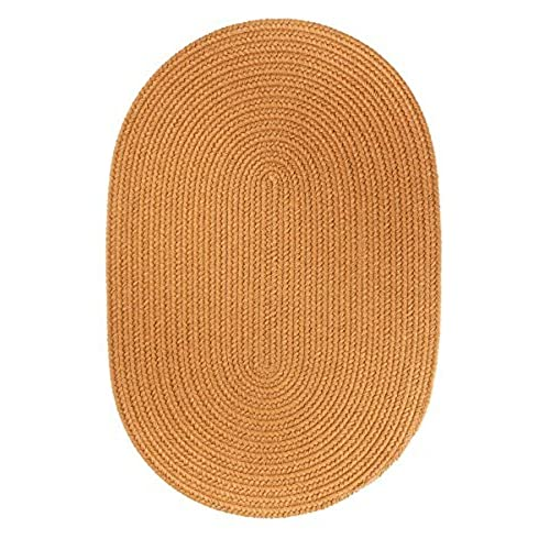 Super Area Rugs Maui Indoor / Outdoor Braided Rug For Patio Porch Kitchen,  New Gold 2u0027 X 3u0027 Oval