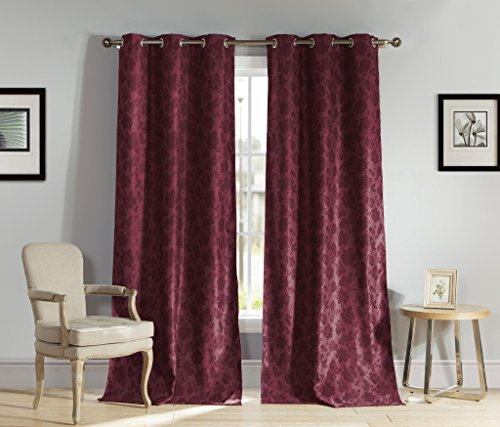 Heavy Insulated Floral Print Energy Saving Blackout Window Grommet Top Curtains 54 inch Wide by 84 Long (Assorted Colors) Set of 2 Panel Room Darkening Drapes - Wine Red (559 Sofa)