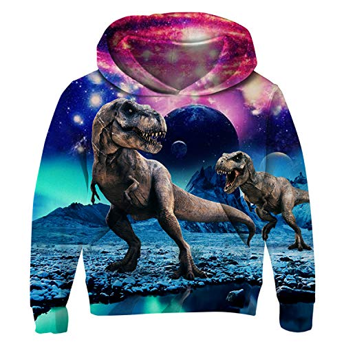 Uideazone Unisex Teens Boys Girls Galaxy Dinosaur Hooded Sweatshirt Cool Graphic Pullover Hoodie Funny Hooded Sweatshirts -