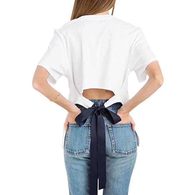 Hzjundasi Moda Las Señoras de Las Mujeres Sexy Estilo Flojo Cuello Redondo Camiseta de Manga Corta Blusa Algodón Tops Blanco: Amazon.es: Ropa y accesorios