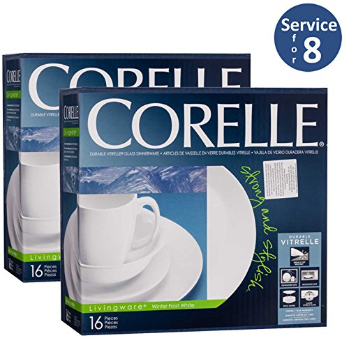Corelle Livingware 32-Piece Dinnerware Set, Winter Frost White, Service For 8