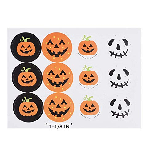 Halloween Pumpkin Stickers Packaging Seal Tags Labels Removable Paper Self Adhesive Decals Halloween Sticker Sheets DIY Ghost Trick or Treat Candy Bag Seals Decoration