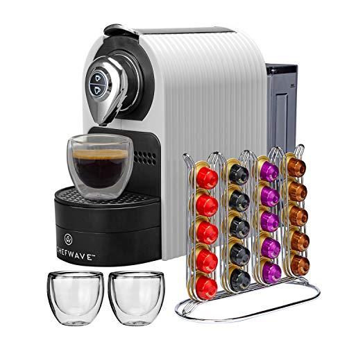 ChefWave Mini Espresso Machine – Nespresso Capsules Compatible – Programmable One-Touch 27 Oz. Water Tank, Premium Italian 20 Bar High Pressure Pump – 40 Pod Holder, 2 Double-Wall Glass Cups – White