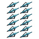 Hunting Crossbow - Hunting Broadheads,Sinbad Teck 12PK 3 Blades Archery Broadheads 100 Grain Screw-In Arrow Heads Arrow Tips Compatible with Crossbow and Compound Bow (Blue)