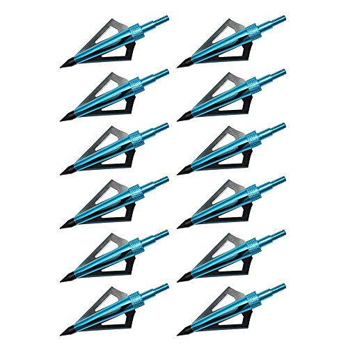 Hunting Broadheads, Sinbadteck 12PK 3 Blades Archery Broadheads 100 Grain Screw-In Arrow Heads Arrow Tips Compatible with Crossbow and Compound Bow (Blue)