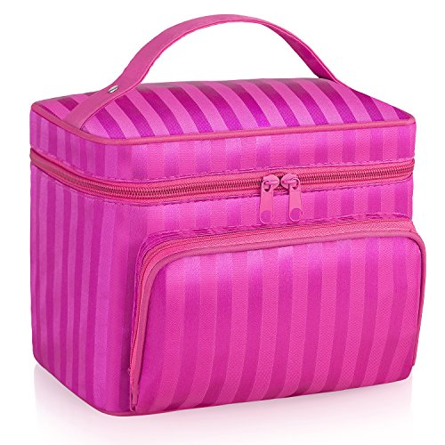 Miracu Cosmetic Bag Travel Makeup Bag Large Toiletry Bags for Home Use Portable Storage Bag with Brush Slots and Mirror Inside (Rose)