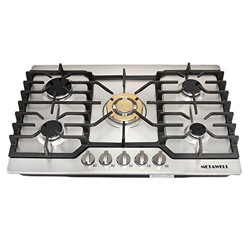 METAWELL 30″ Stainless Steel Gold Burner Built-in 5 Stoves Natural Gas Cooktops Cooker