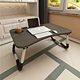 Laptop Bed Table, Aitmexcn Foldable Portable Lap Standing Desk with Cup Slot, Notebook Stand Breakfast Bed Tray Book…