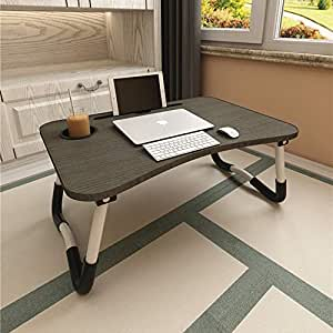 Laptop Bed Table, Aitmexcn Foldable Portable Lap Standing Desk with Cup Slot, Notebook Stand Breakfast Bed Tray Book Holder for Sofa, Bed, Terrace, Balcony, Garden - Blake (Black-A)