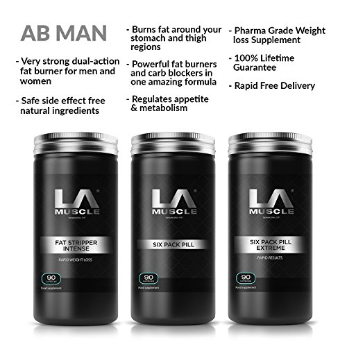 LA Muscle Abman Fast Weight Loss Supplement Collection Scientifically Engineered Fat Burners Safe for Men and Women Completely Natural Ingredients by LA Muscle