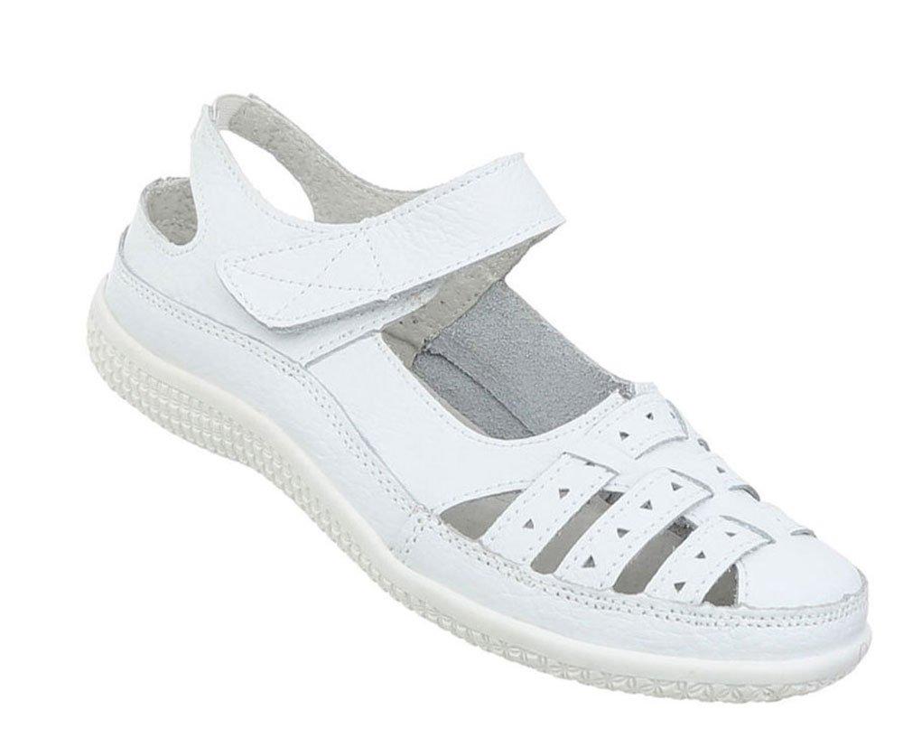 Damen Schuhe Sandalen Leder Klettverschluszlig;40 EU|Wei?