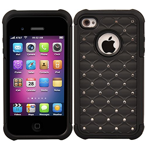 iPhone 4s Case, iPhone 4 Case, 4s Case, MagicSky [Shock Absorption] Studded Rhinestone Bling Hybrid Dual Layer Armor Defender Protective Case Cover For Apple iPhone 4/4S - Black (Jeweled Iphone 4 Case)