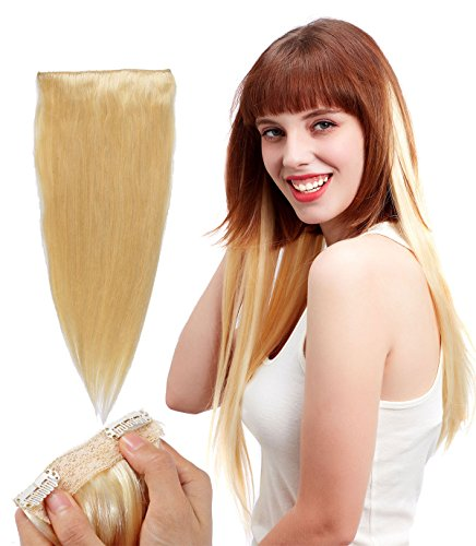 "Human Hair Clip In Extensions - Amonssa 22"" straight Remy Hair Clip in Hair Extensions for Women Christmas Party Triple Weft Bleach Blonde #613 10 Pieces 21 Clips 140Gram"