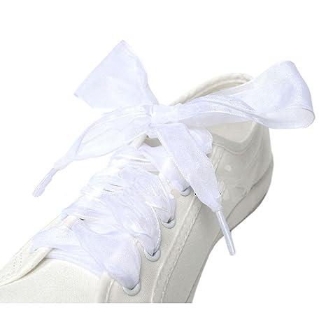 GZHOUSE Pizzo Lacci per scarpe organza nastro scarpe sportive con lacci  piatti per scarpe Sneakers Stivali 4e2f8eaac8f