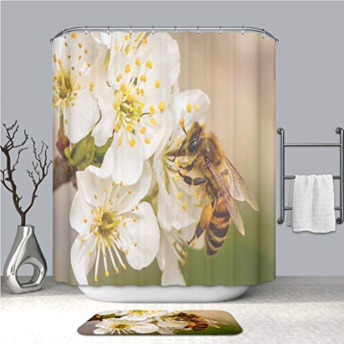 BEICICI Shower Curtain and Bath mat Rug Bee on a Spring Flower Collecting Pollen and Nectar_ Custom Stylish,Waterproof,Bathroom Set