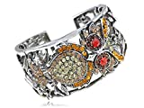 Alilang Topaz Crystal Mysterious Owl Red Eye Rhinestone Cuff Bangle
