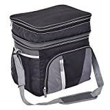 Image of Goplus 24 Can Double-layer Cooler Bag Ice Pack Lunch Container Zipper Shoulder Straps