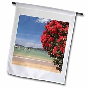 Danita Delimont - Beaches - Pohutukawa tree, beach, Paihia, North Island, New Zealand-AU02 DWA6632 - David Wall - 18 x 27 inch Garden Flag (fl_70141_2)