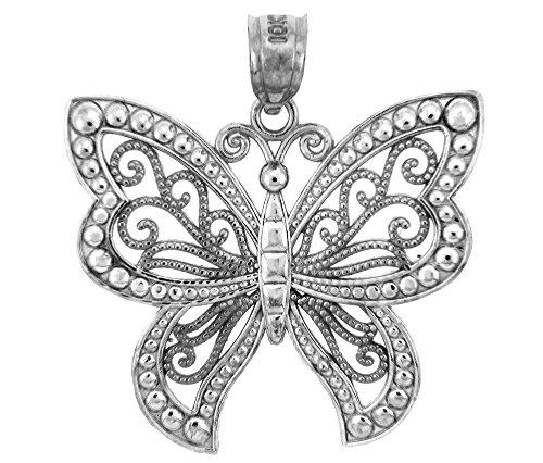 Fine 925 Sterling Silver Filigree Butterfly Charm Pendant Sterling Silver Filigree Butterfly Pendant
