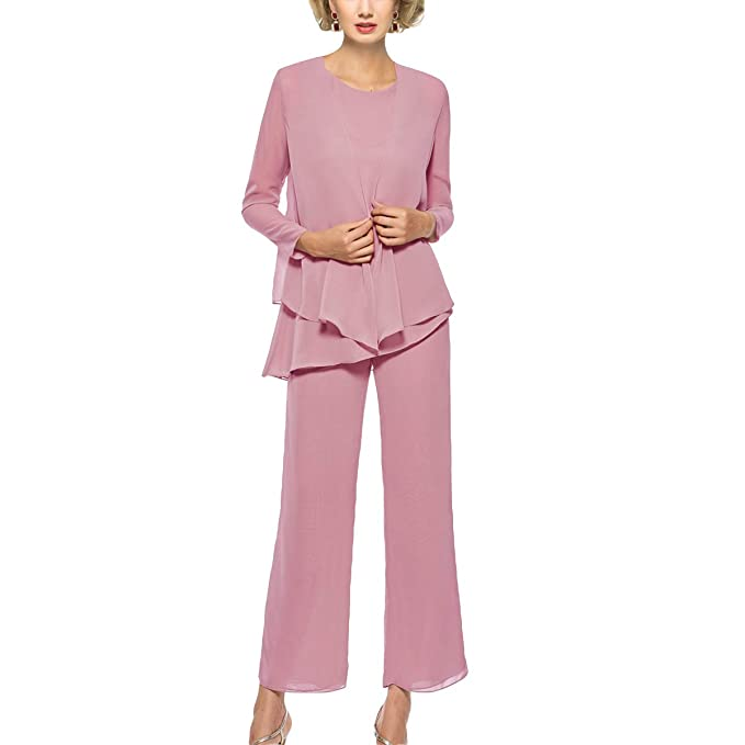 Dressy Pantsuits For A Wedding.Mother Of The Bride Pant Suits 3 Piece Outfits Formal Womens Evening Long Sleeve Chiffon Dressy Pantsuits For Weddings