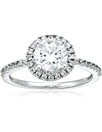 14k White Gold Swarovski Zirconia Round Halo Engagement Ring