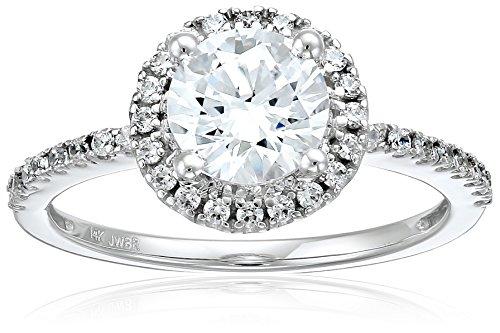 14k White Gold Swarovski Zirconia Round Halo Engagement Ring, Size 7