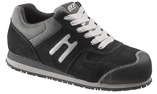 HYTEST Women's Suede Leather Mesh Athletic Shoe (09.5 W, Black)