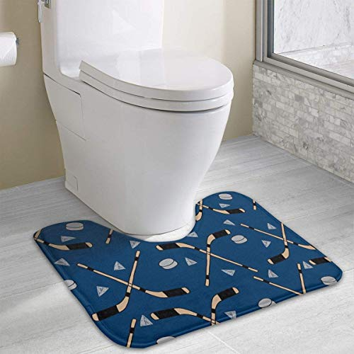 casually Ice Hockey Funny Bath Mat Toilet Carpet Doormats Floor Rugs for Bathroom Toilet 19.2″x15.7″