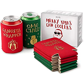 Holiday Party Can Cooler Beer Holder 2 Pack Christmas Theme Carefully Selected Materials Kitchen, Dining & Bar