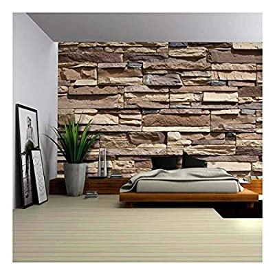 Neutral Colored Brick Pattern Wall Wall Mural Removable...