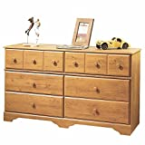 6-Drawer Double Dresser in Country Pine Finish