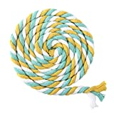 ULTNICE 100m Multicolor 3-Ply Twisted Cotton Rope Cotton Cord String for DIY Arts Crafts 6mm (Yellow Sky Blue White)