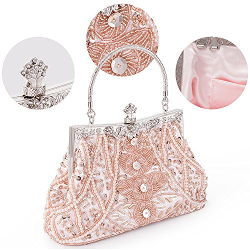 Party Pink Clutch Beaded Handbag Style Evening Vintage Sequined LONGBLE Wedding Bag Women's Purse q1pWx8