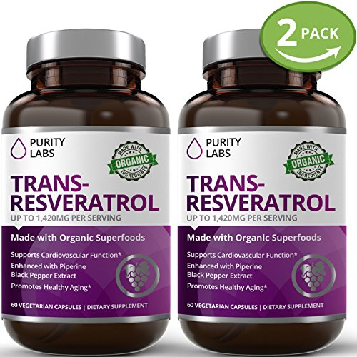 2 Bottle Bundle - Save an Extra 10% - Certified Organic Trans-Resveratrol Anti-Aging Superfood Supplement 1,400mg Per Serving - with Green Tea, Pomegranate, Grape Seed Extract, and Vitamin C