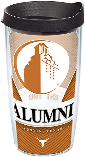 - Tervis 1224462 Texas Longhorns Alumni Tumbler with Wrap and Black Lid, 16 oz - Tritan, Clear