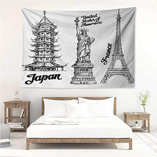 alisos Eiffel Tower,Wall Hanging Famous Monuments Statue of Liberty Eiffel Tower Japanese Temple Urban Artsy 60W x 51L inch Bed Sheet Picnic Tapestry Black White