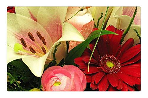 Tree26 Indoor Floor Rug/Mat (23.6 x 15.7 Inch) - Bouquet Ranunculus Gerbera Lily Spring Flower Vase