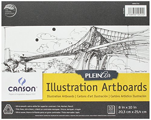 Canson Plein Air Illustration Smooth Art Board Pad for Ink, Markers and Pencils, 8 x 10 Inch, Set of 10 Boards by Canson