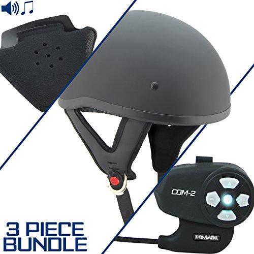 Outlaw T68 DOT Flat Black Half Helmet with Hawk COM-2 Bluetooth Intercom and Sp - Large w/COM-2 Intercom ()