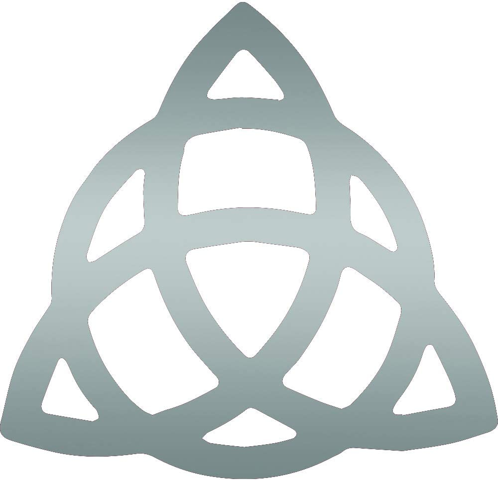 ANGDEST Religion Triquetra Pagan Wiccan Decal Sticker (Metallic Silver) (Set of 2) Premium Waterproof Vinyl Decal Stickers for Laptop Phone Accessory Helmet Car Window Bumper Mug Tuber Cup Door Wall