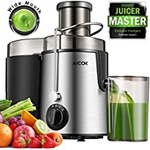 Aicok Juice Extractor Bpa Free Premium Food Grade Stainless Steel Dual Speed Setting Juicer Machine, 400W