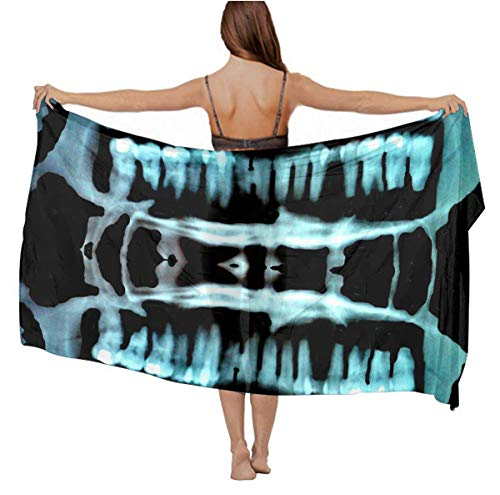 Silky Feel Scarf Summer Elegant Large Cover Up - Halloween Spooky Skeleton Teeth for Bridal Vacasion Travel, Beachwear Evening Party Chiffon Cape, 70.8 x 39 inch ()