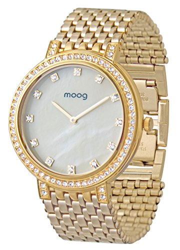Moog Paris - Caresse - Women / Men Watch with white mother of pearl dial, gold strap in Stainless steel, made in France - M46184-004