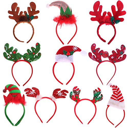 10 Packs Christmas Headbands Different Designs Reindeer Antlers Headbands Unicorn Horn Headbands Christmas Hats Headband Christmas Decoration Gifts for Christmas Costume Holiday Party]()