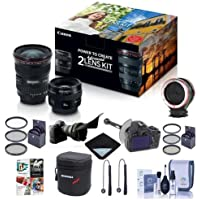 Canon EF 17-40mm f/4L USM / EF 50mm f/1.4 USM, Advanced 2 Lens Kit - Bundle with Peak Design Lens Changing Kit Adapter, DSLR Follow Focus & Rack Focus, 58mm/77mm Filter Kits and More