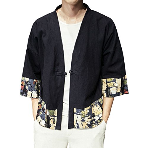 ea7801e90ebac Hzcx Fashion Men s Cotton Blends Linen Open Front Cardigan Kimono Jackets  R-QT4021-F005-60-B-US XS TAG M - Buy Online in Oman.