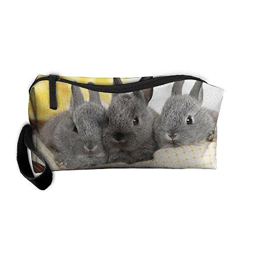 Jessent Coin Pouch Gray Rabbits Pen Holder Clutch Wristlet Wallets Purse Portable Storage Case Cosmetic Bags Zipper ()