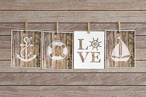 Four Piece Nautical Nursery Cardstock Prints 8.5 x11 Natural Wood by June & Lucy